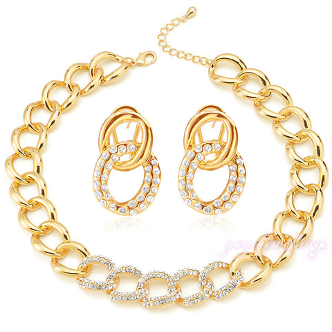 Mytys  Gold Plated Jewelry Sets Big Link Chain Necklace and Earrings Sets Crystal Beaded Jewellery sets CN179 - onlinejewelleryshopaus