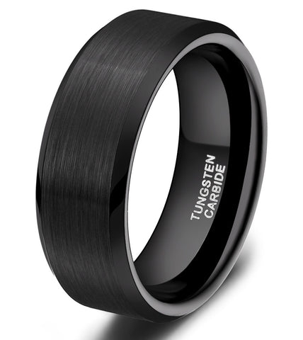 1PC Classic Simple 8MM Black Matte Tungsten Ring Wedding Band Men's Jewelry For Engagement wolfraam ring mannen anillo negro - onlinejewelleryshopaus