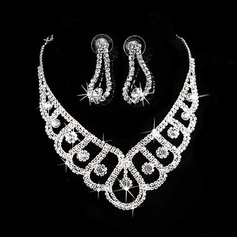2016 New Fashion Silver Crystal Jewelry Sets Wedding Bridal Prom Rhinestone Necklace Earrings Jewelry - onlinejewelleryshopaus