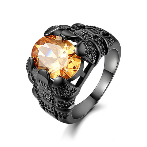 2017 New Fahion men Jewelry unusual Black gold plated full finger rings stone Engagement male Ring Gift for men - onlinejewelleryshopaus