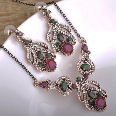 Blucome Turkish Statement Necklace Earring Set Retro Rhinestone Crystal Wedding Bridal Flower Vintage Jewelry Sets For Women - onlinejewelleryshopaus
