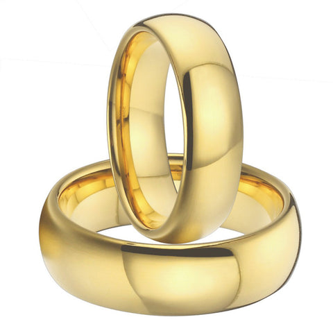 1 pair 8mm & 6mm gold plating titanium wedding bands couples rings sets for men and women alliance anel ouro size USA  5-15 - onlinejewelleryshopaus
