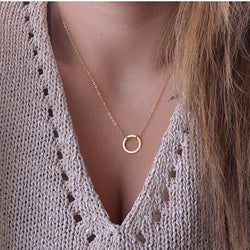 N602 Circle Pendants Necklaces Eternity Gold Plated Collares Minimalist Jewelry Dainty Forever Women Necklace Gift 2017 - onlinejewelleryshopaus