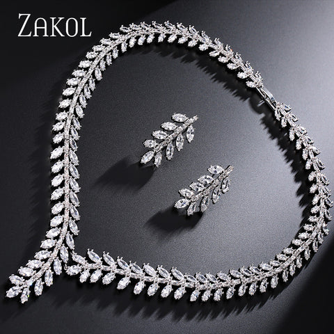 ZAKOL Exclusive! White Gold Plated Princess Wedding Jewelry Set With Cubic Zircon for Women High Quality Bridal Jewelry FSSP250 - onlinejewelleryshopaus