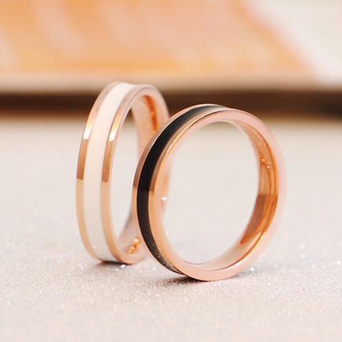 VOGUESS Fashion Cheap Ring Man Women Stainless Titanium Steel Rose Gold Color Brand Design Couples Tail Ring - onlinejewelleryshopaus