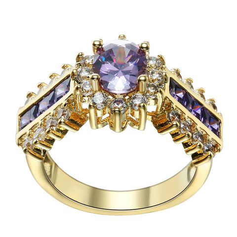 Top purple Cubic Zirconia Mens Ring Jewelry Yellow gold plated Filled Party Ring Jewelry Ring Red created sapphire Ring - onlinejewelleryshopaus