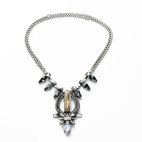 Silver Plated Cool Accessories Crystal 2015 Women Vintage Punk Collars Necklace Jewelry With Removable Chains - onlinejewelleryshopaus