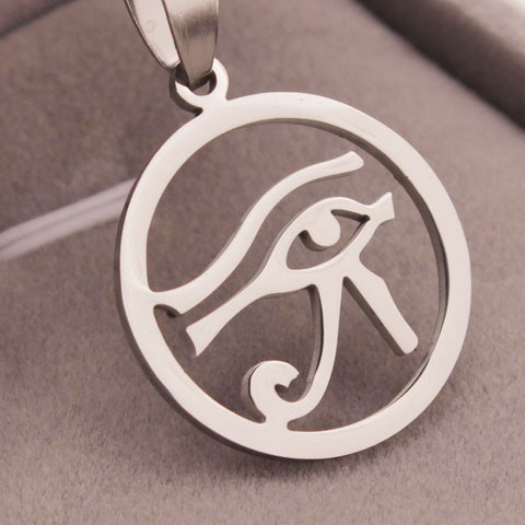 Mens Womens Egyptian Eye of Horus Pendant Necklace Stainless Steel Jewelry Horus Eye Pendant - onlinejewelleryshopaus