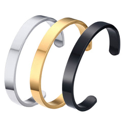 Gold Bangles customized jewelry engraving stainless steel 6mm 8mm men engravable cuff bracelet couple Bangle for women hot sale - onlinejewelleryshopaus