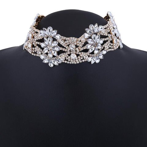2016 big crystal flowers collar choker necklace vintage necklace women necklaces neck Jewelry collares - onlinejewelleryshopaus