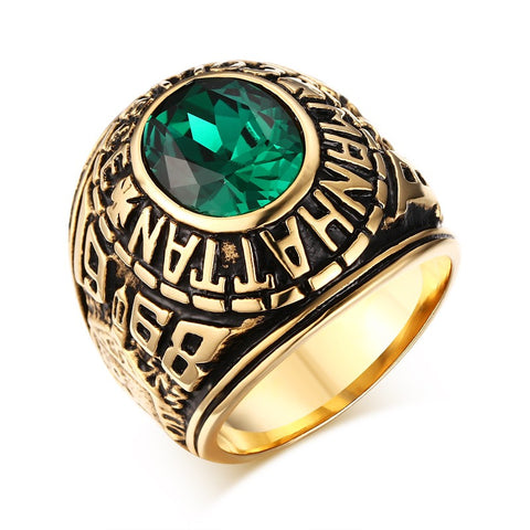 Mprainbow Mens Rings Gold Plated Manhattan College Ring with Green CZ Crystal Vintage Men Bike Fashion Jewelry Graduation Gift - onlinejewelleryshopaus
