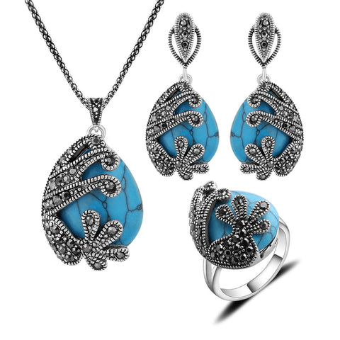 New Arrival Fashion Jewellery Set Turkish Silver Plated Black Rhinestone And Natural Stone Blue Turquoise Jewelry Sets For Women - onlinejewelleryshopaus