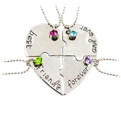 "Pameng 4pcs/set New Fashion ""best friend forever and ever""  Pendant Necklace Heart Shape Puzzle Hand Stamped Friendship Jewelry - onlinejewelleryshopaus"
