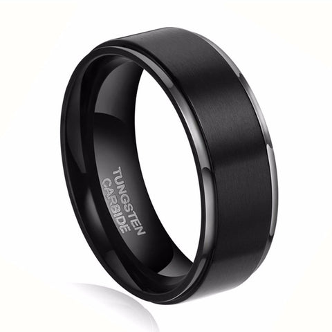 1pc8mm Black Brush 100% Carbide Tungsten Ring Men Fashion Rings Jewelry Wedding Engagement Band anelli uomo anel masculino preto - onlinejewelleryshopaus