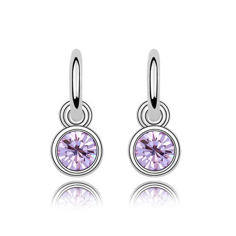4 Colors Real Austrian Crystals   Fashion Dangle earrings for women New Sale Hot Brand Vintage 90447Violet - onlinejewelleryshopaus