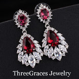 Vintage Bridal Earring Big Chandelier Cubic Zirconia Pave Synthetic Ruby Red Stone Women Long Drop Earrings For Wedding ER042 - onlinejewelleryshopaus