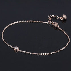 2016 New AAA Cubic Zirconia Anklet Rose Gold Titanium Steel Anklet Bracelet Foot Jewelry Fashion Leg Chain for Women Girls - onlinejewelleryshopaus