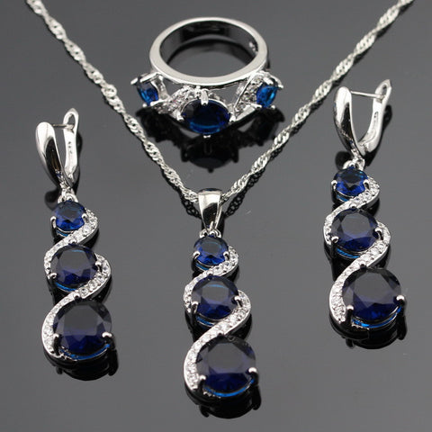 Trendy Blue Created Sapphire Jewelry Sets For Women Engagement Silver Color Necklace Pendant Earrings Rings Gift Box - onlinejewelleryshopaus