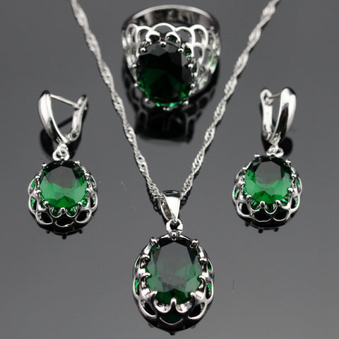 Made in China Silver Color Jewelry Sets Round Green Created Emerald Earrings/Pendant/Necklace/Rings For Women Free Gift Box - onlinejewelleryshopaus