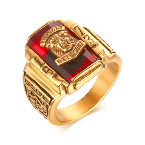 Meaeguet Men's Rock Punk Ring Gold Plated Large Red CZ Stone Ring Jewelry 1973 Lion Head Party Rings For Men - onlinejewelleryshopaus