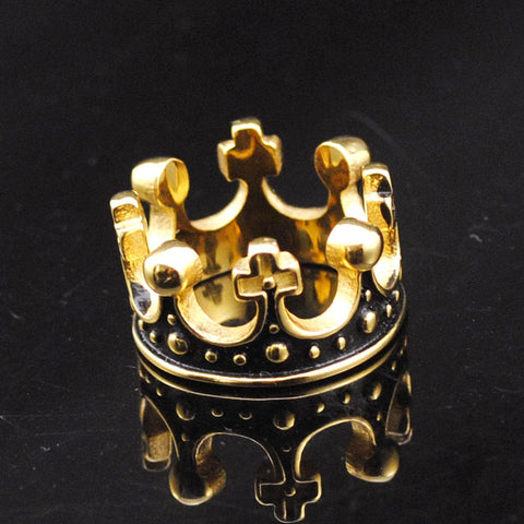 2016 Hot  Gold Plated Stainless Steel Ring Crown King Mens Rings Wedding Jewelry Domineering Cool Party Gift, GR430 - onlinejewelleryshopaus