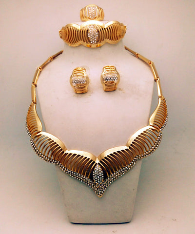 2017 Dubai Gold Plated Jewelry Sets Nigerian Wedding African Beads Crystal Bridal Jewellery Set Rhinestone Ethiopian Jewelry - onlinejewelleryshopaus