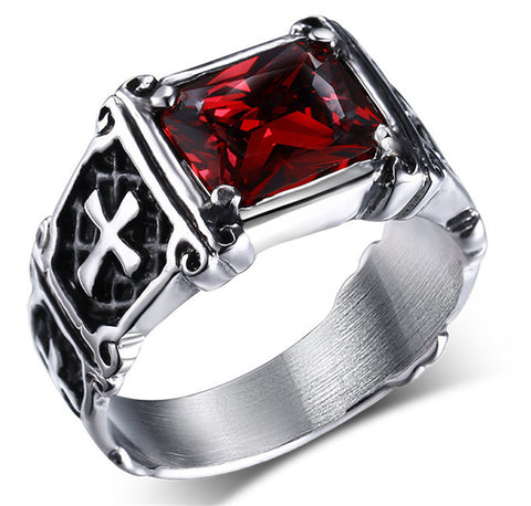 Hot sale Punk Real stainless steel    Men's 13KT red stones Finger Rings for man High Quality Cross Ring accessary - onlinejewelleryshopaus