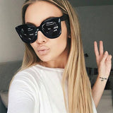 AFOFOO Fashion Cat Eye Sunglasses Luxury Brand Designer Vintage Rivet Women Mirror Sun glasses UV400 Shades Big Frame Eyewear - onlinejewelleryshopaus