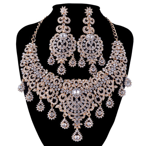 gold Jewelry Sets Bridal necklace earrings Women Wedding Party Dress Statement necklace Russian fashion style Earrings sets - onlinejewelleryshopaus