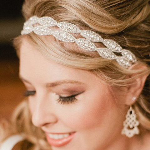 Romantic Wedding Bridal Crystal Headband Headpiece Rhinestone Ribbon Hair Band For Bride Hair Jewelry Women hair accessories - onlinejewelleryshopaus