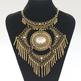 2017 Fashion Collar Power choker Vintage Bohemian necklace pendant tassel ethnic big gem gold Necklace Women fine jewelry - onlinejewelleryshopaus
