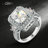 Exaggerated Luxury CZ Stone Engagement Ring Silver/Rose Gold Plated Cubic Zirconia Wedding Jewelry For Men and Women Anel DFR301 - onlinejewelleryshopaus