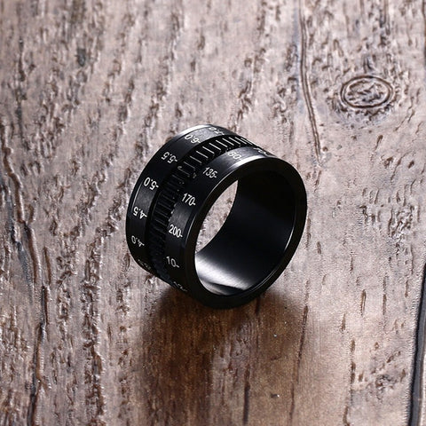 Unique Men's Rings Stainless Steel SLR Camera Lens Ring for Men Black Fashion Jewelry Spinner Band Photographers Accessories HOT - onlinejewelleryshopaus