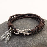 Fashion Jewelry PU Leather Bracelets Charm Gift Bangles Multilayer Feather Bracelet Accessories Wedding Men Jewelry - onlinejewelleryshopaus