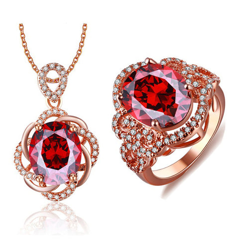 Fashion Rose Gold Plated Jewelry Sets Red CZ Diamond Crystal Bridal Jewelry Sets Boucle d'Oreille Pendante Jewellery ASM020 - onlinejewelleryshopaus