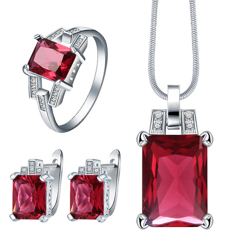 created ruby cz jewelry set for wedding bridal gift fashion 2017 women crystal necklace earring ring Silver color jewelry - onlinejewelleryshopaus