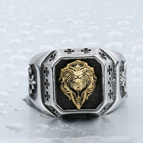 steel soldier stainless steel gold lion head ring fashion top quality new arrival men ring jewelry - onlinejewelleryshopaus