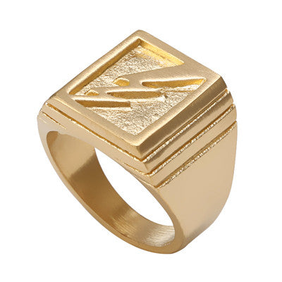 Gold/Silver Plated Men's Ring Square Shape Flash Wide Ring For Women Men 316L Titanium Steel Wedding/Engagement Ring Jewelry - onlinejewelleryshopaus