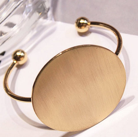 2016 HOT New Europe Trendy Fashion Exaggerate Personality Simple Circular Metal Bangles Bracelet Femme - onlinejewelleryshopaus