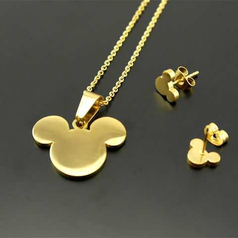 316L stainless steel Bear Pendants Necklaces earrings For Women   Gold Vacuum Plated jewelry sets 2 years warranty - onlinejewelleryshopaus