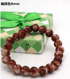 Free Shipping 2016 New Classic Women Jewelry Fashion Wild 8 MM Imitation Agate Bracelet Glass Painting For Women sa170 - onlinejewelleryshopaus