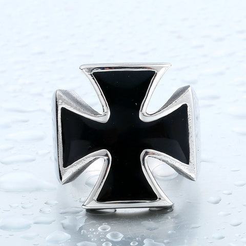 steel soldier  stainless steel World War II Iron German punk Cross Man's titanium Steel classic Ring br8-372 - onlinejewelleryshopaus