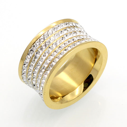 5 Row Brand Crystal Jewelry Fashoin Women Men Unisex Luxury 11mm Wide Rings Wholesale Gold Plated Stainless Steel Wedding Rings - onlinejewelleryshopaus