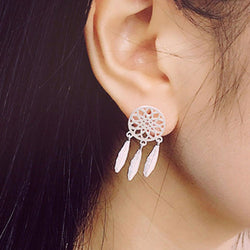 New Fashion Silver plated Bohemia Nationality Feather Dream Catcher Dreamcatcher Drop Earrings For Women Jewelry High Quality - onlinejewelleryshopaus