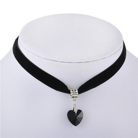 1 PCS Gothic Velvet 7 Colors Women Men Lover Heart Crystal Choker Handmade Necklace Pendant 80 90s Jewelry P1181 - onlinejewelleryshopaus