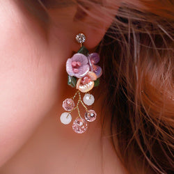 Elegant Women drop Earrings Crystal earring flower party decoration girl gifts Bride Jewelry Wedding Party Accessories huacu - onlinejewelleryshopaus