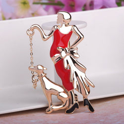 Blucome Red Paris Girls Walk the Dog Brooches Enamel Gold Plated Corsages For Dress Scarf Suit Pins Women Holiday Bijuterias - onlinejewelleryshopaus