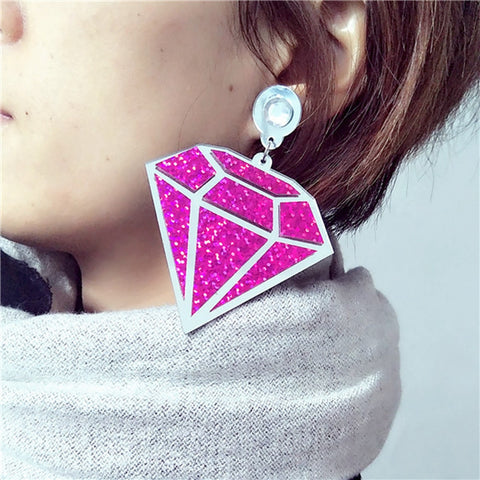 2017 New Fashion Night Club Singer Jewelry Accessories Punk Hip Hop Big Acryclic Women Bling Imitation Diamond Earrings 4 Colors - onlinejewelleryshopaus