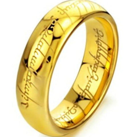 6MM Size 7 -15Gold Plated Tungsten Carbide LOTR Lord of Ring Band Wedding Engagement  Cocktail Husband Father Gifts - onlinejewelleryshopaus