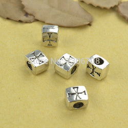 60pcs/lots Metal antique tibetan silver charms square cross carved beads for Europe bracelets making diy jewelry supplies z42597 - onlinejewelleryshopaus